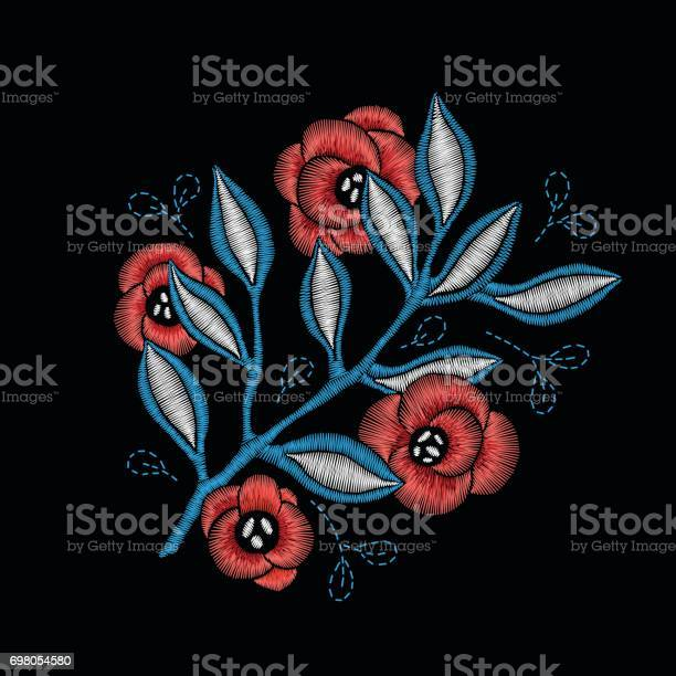 Embroidery floral pattern with branch and red flowers vector id698054580?b=1&k=6&m=698054580&s=612x612&h=jqititvzhruitnacsab7htjhjifr6fwh8jd5kcjqg2w=
