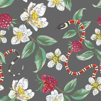 Embroidery floral pattern with raspberries and snake