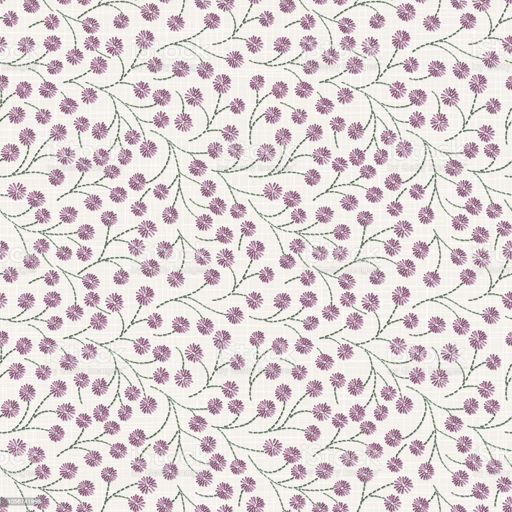Ilustración de Bordado Floral De Patrones Sin Fisuras En Una Textura ...