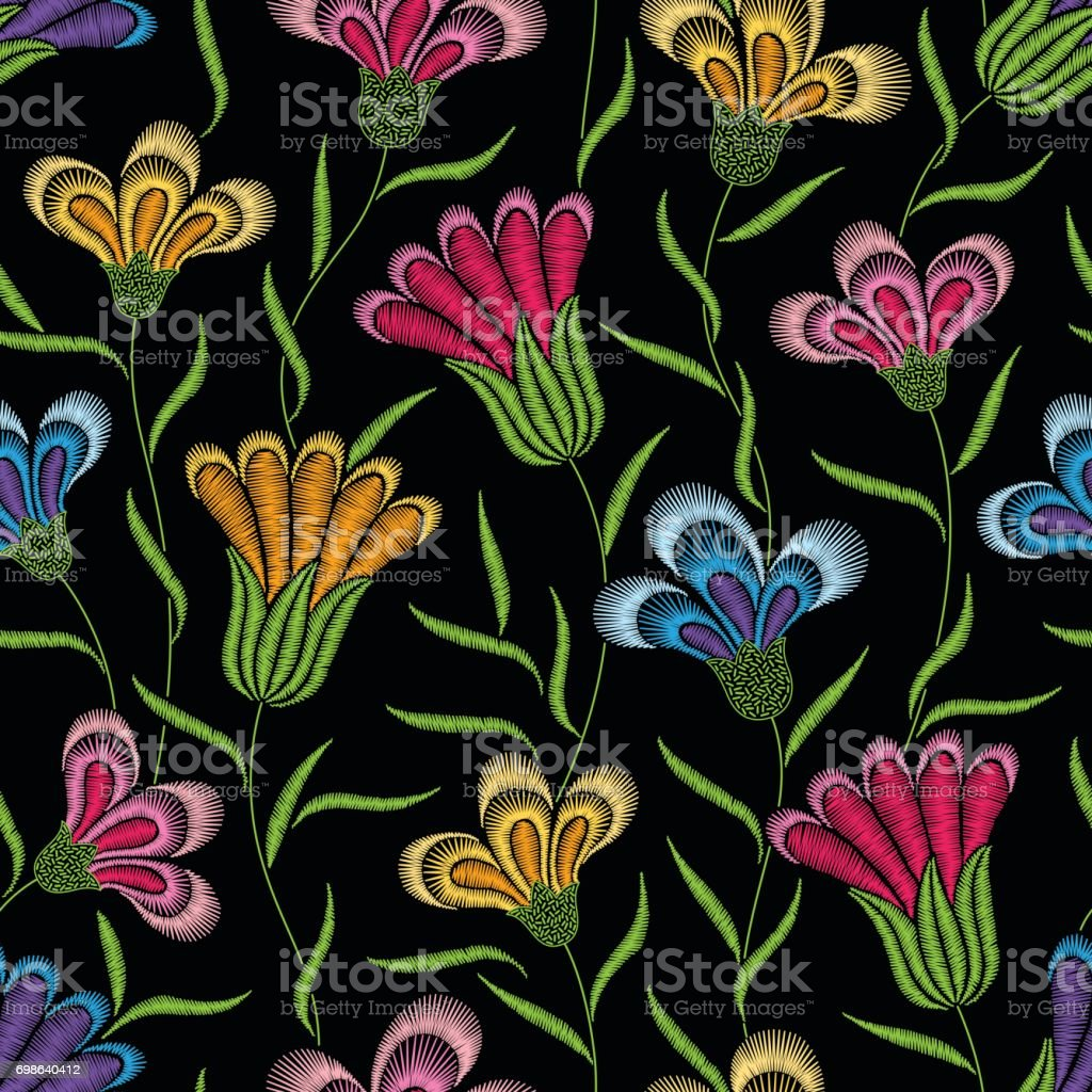 Embroidery Floral Seamless Pattern With Pink Yellow And Blue Flowers