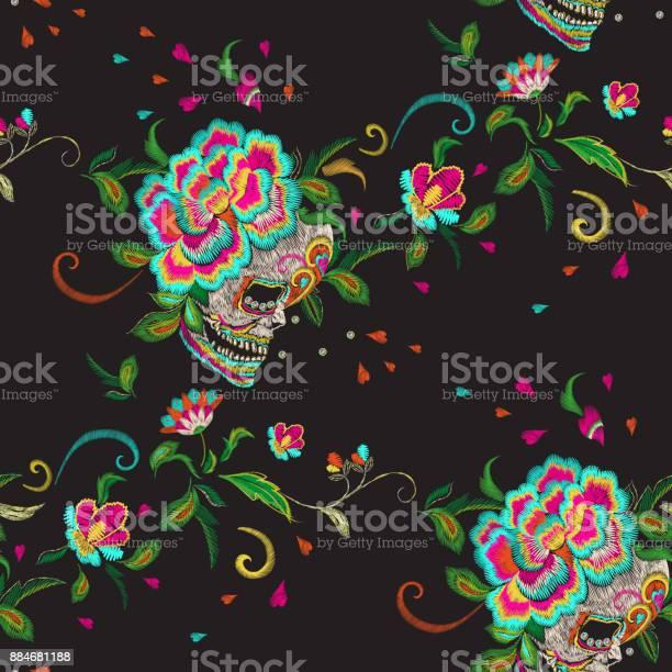 Embroidery floral seamless pattern with skull and roses vector id884681188?b=1&k=6&m=884681188&s=612x612&h=tgiiqbpauwdcu7oktjjc8c 6uk6ottkqzcejtjxplcy=