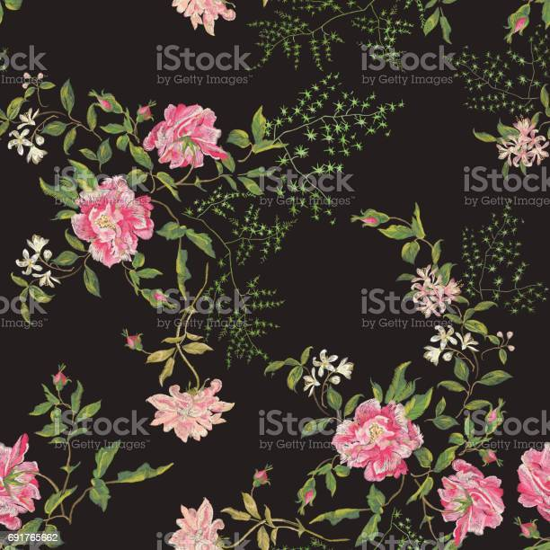 Embroidery floral seamless pattern with wild roses and lilac vector id691765662?b=1&k=6&m=691765662&s=612x612&h=gxqipfx i kyptonars 8ioxow81h4c5pvfo5axnnq4=