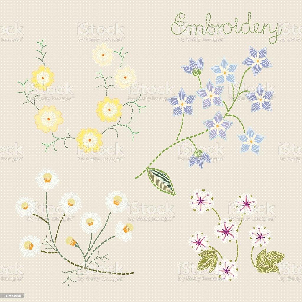Bordado Patrón De Flor Illustracion Libre de Derechos 486906332   iStock