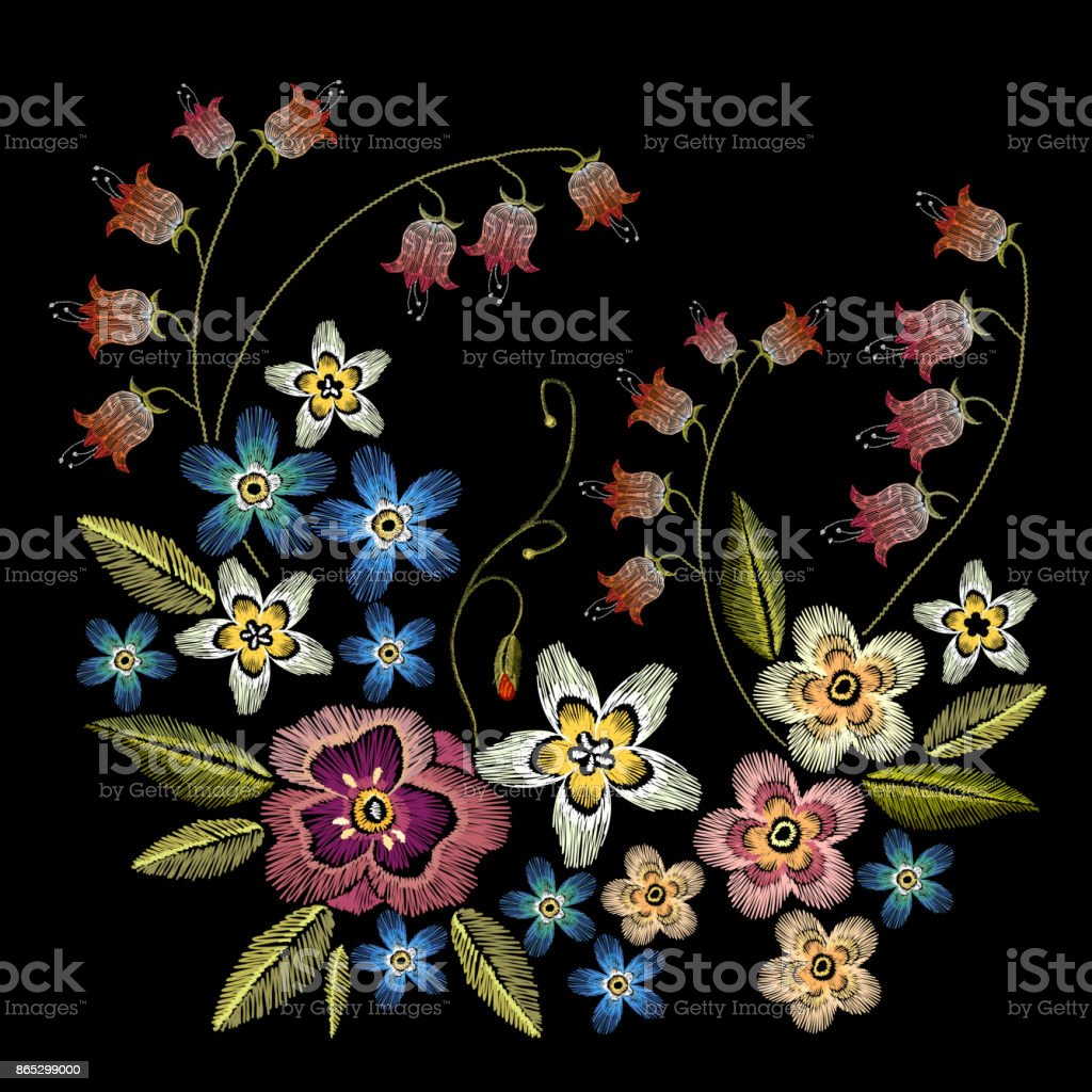 Embroidery flowers. Beautiful summer chamomiles, cornflowers, classical embroidery, t-shirt design template. Fashionable template for design of clothes vector art illustration