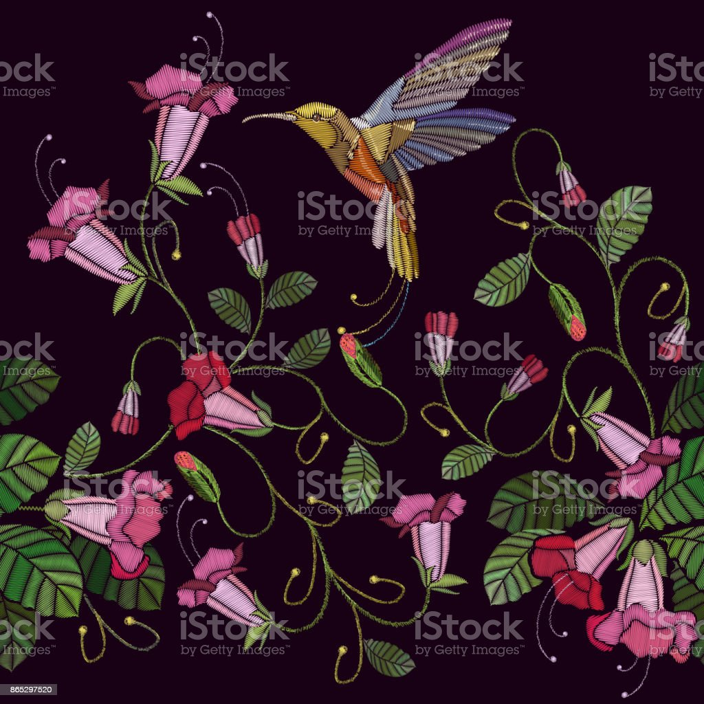 Embroidery flowers bells and humming bird seamless pattern. Beautiful cornflowers and humming bird, classical embroidery pattern. Fashionable template for design of clothes vector art illustration