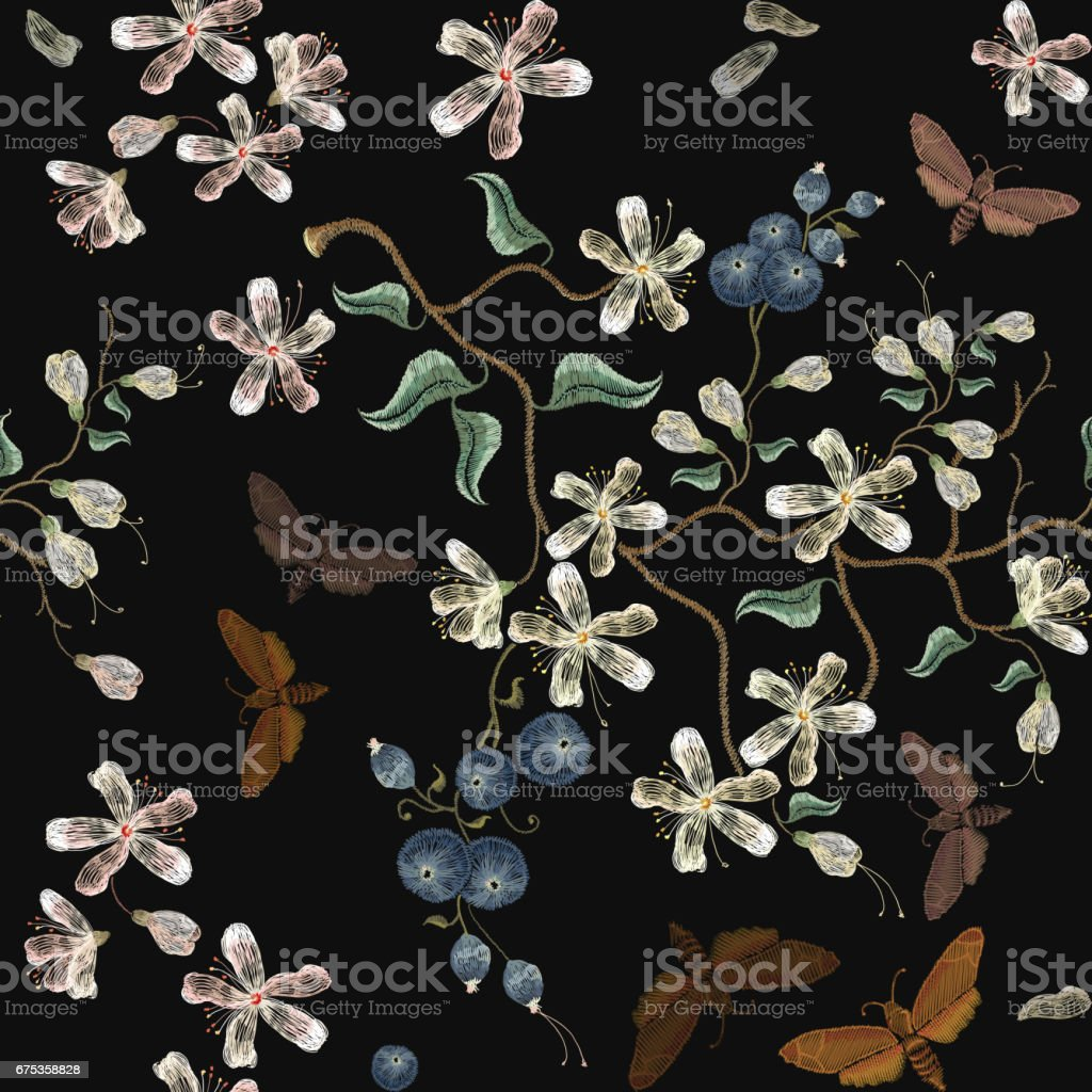 Embroidery flowers blooming cherry and butterflies seamless pattern embroidery flowers blooming cherry and butterflies seamless pattern sakura bloom embroidery beautiful flowers izmirmasajfo