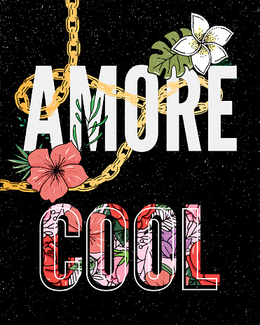 Embroidery flowers. Cool Amore slogan. Classical embroidery lotus and white, pink and yellow water lilies, template fashionable clothes, t-shirt design, print art