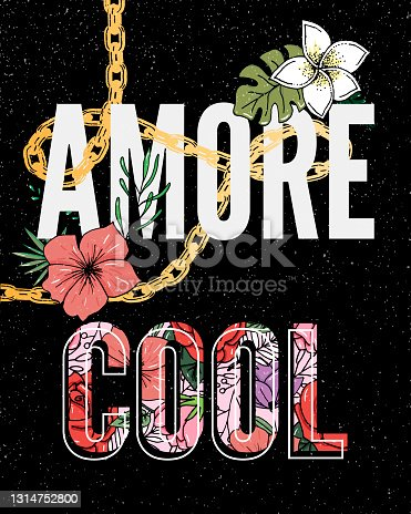 istock Embroidery flowers. Cool Amore slogan. Classical embroidery lotus and white, pink and yellow water lilies, template fashionable clothes, t-shirt design, print art 1314752800