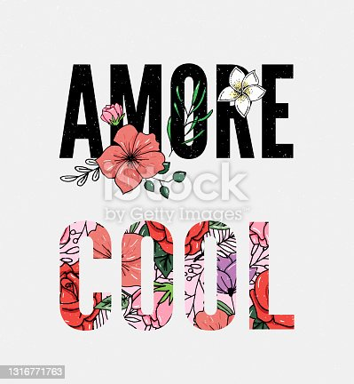 istock Embroidery flowers. Cool Amore slogan. Classical embroidery lotus and white, pink and yellow water lilies, template fashionable clothes, t-shirt design, print art 1316771763