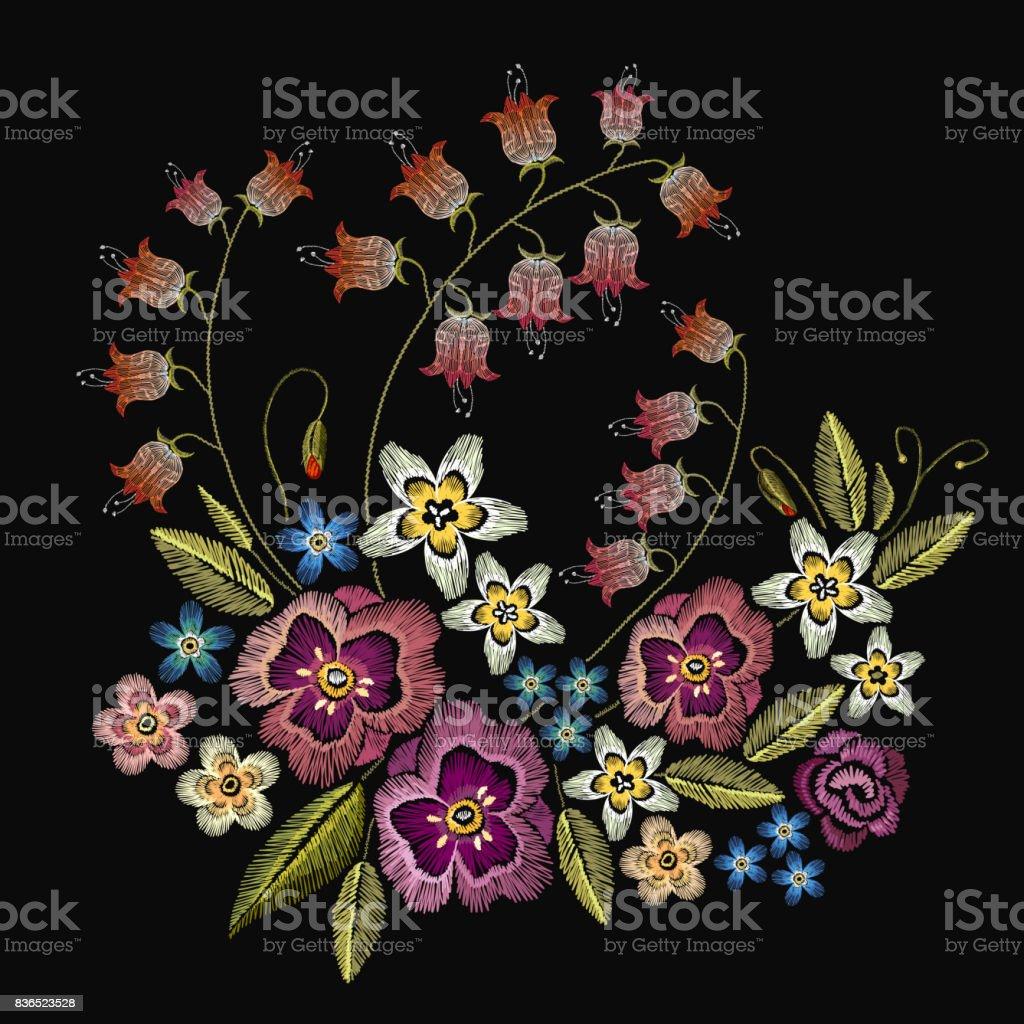 Ilustracion De Flores De Bordado Moda Plantilla Para Diseno De Ropa