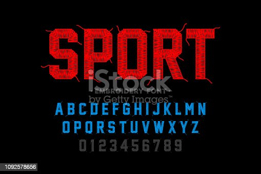 Embroidery font, sports style, stitched with thread alphabet letters and numbers vector illustration