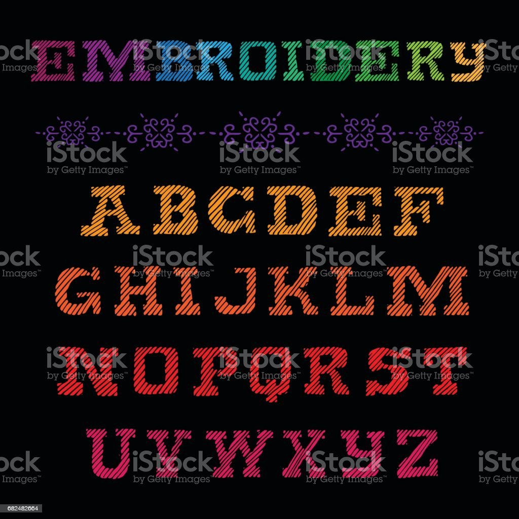 Embroidery font with decor element. Colorful vector illustration. Embroidered alphabet. royalty-free embroidery font with decor element colorful vector illustration embroidered alphabet stock vector art & more images of alphabetical order