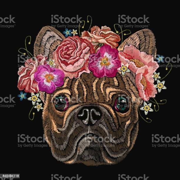 Embroidery french bulldog and beautiful bouquet of flowers classical vector id845494118?b=1&k=6&m=845494118&s=612x612&h=mlaoxvwev7fdlyjgbl wrbfnj3tk8w kwnwlrjzv 9a=