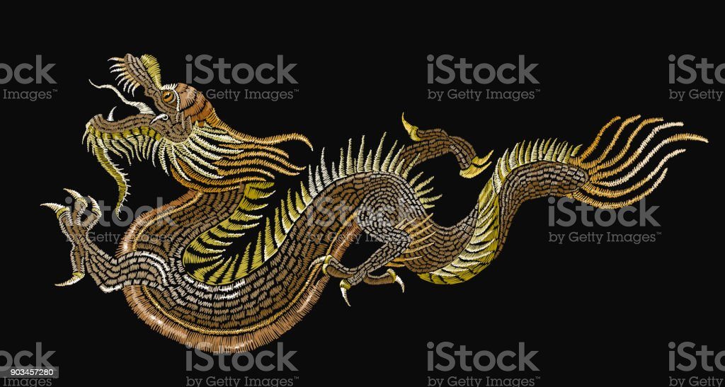 Embroidery golden chinese dragons. Classical embroidery asian golden dragons. Art dragons t-shirt design. Clothes, textile design template vector art illustration