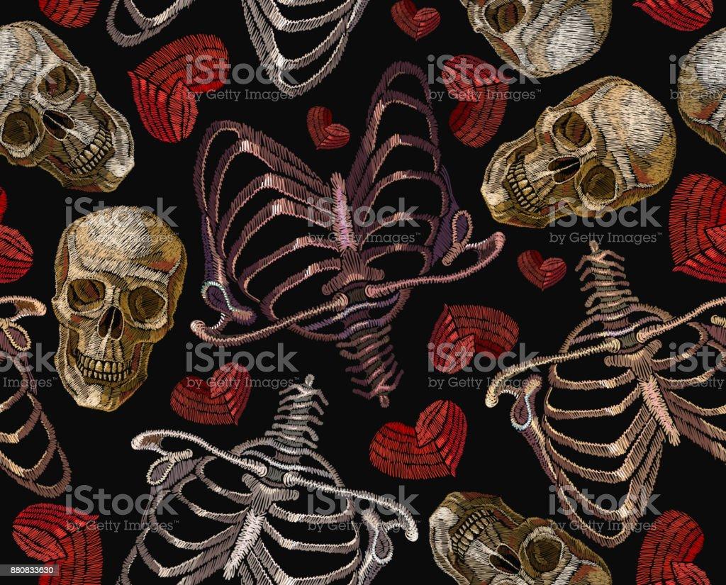 Stickerei Menschlichen Brustkorb Rotes Herz Und Nahtlose Muster ...