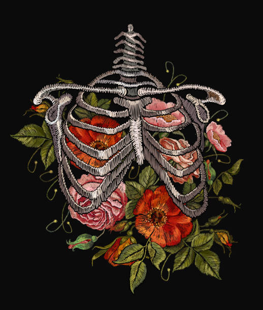 Embroidery human rib cage with red roses. Gothic embroidery skeleton ribs and flowers. Fashionable clothes, t-shirt design, beautiful flowers, renaissance style vector vector art illustration