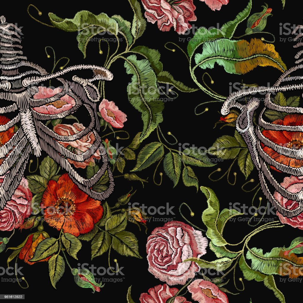 Embroidery human rib cage with red roses seamless pattern....