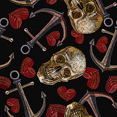 Embroidery human skull, anchor and heart seamless pattern. Sea pirate pattern embroidery vintage anchor, skull and romantic hearts, clothes and t-shirt design. Gothic pattern