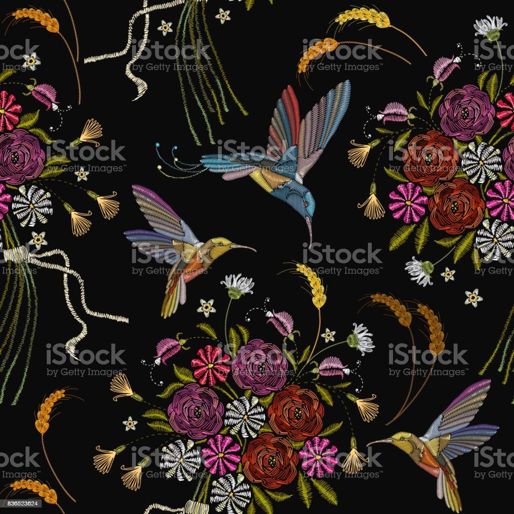 Embroidery Humming Bird And Flowers Seamless Pattern Beautiful Hummingbirds Summer On Black