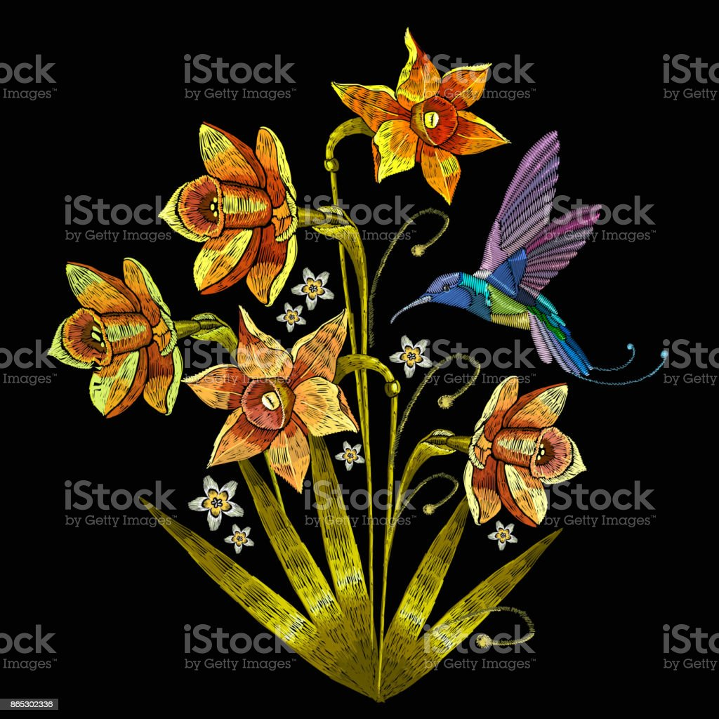 Embroidery humming bird and narcissus.  Beautiful hummingbird and yellow narcissus embroidery on black background. Template for clothes, textiles, t-shirt design vector art illustration