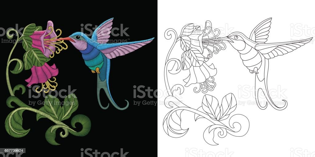 Embroidery Hummingbird Design Stock Vector Art More Images Of