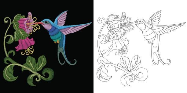 embroidery hummingbird design vector art illustration