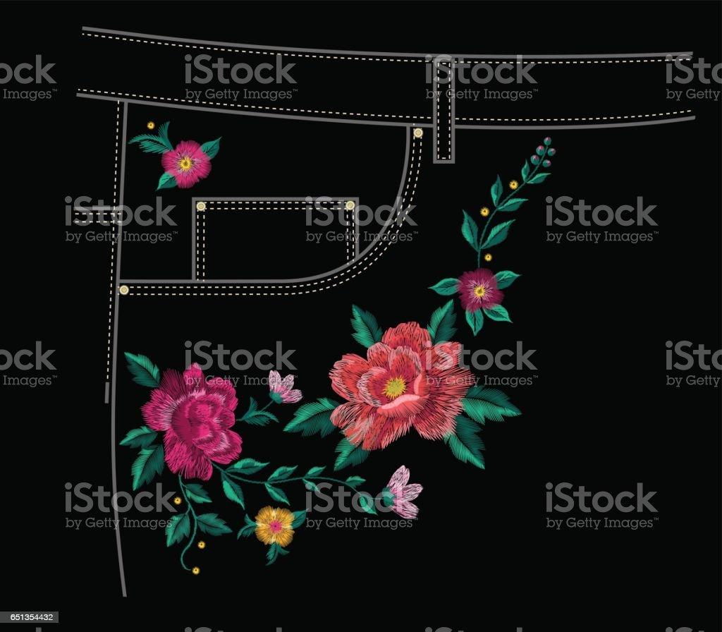 Ilustración de Patron Flores Para Bordar Jeans Con Colores Rosas y ...