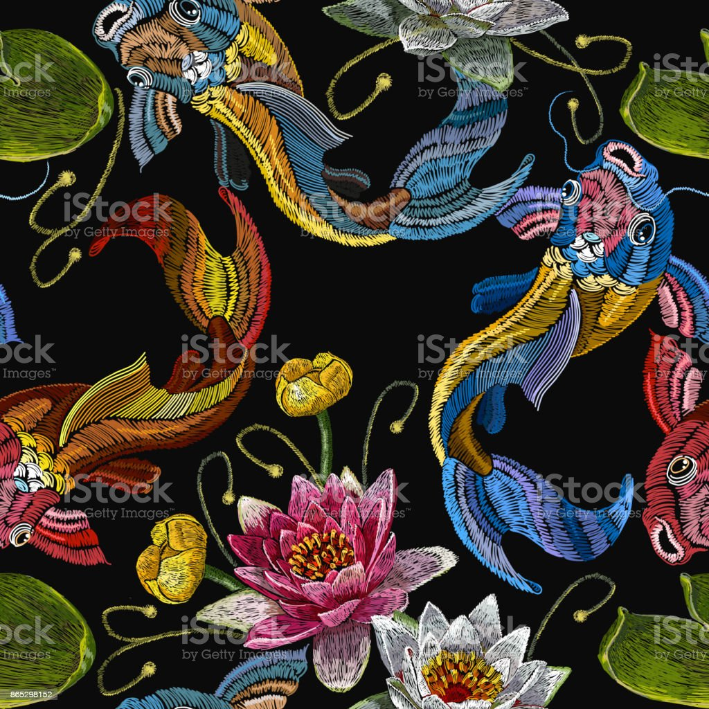 Embroidery koi fish and water lily seamless pattern. Classical embroidery koi carp, pink and white lotuses and water lilies, template fashionable seamless pattern clothes, t-shirt design vector vector art illustration