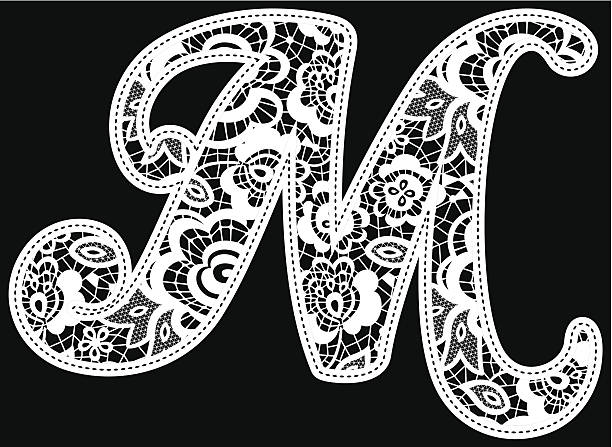 embroidery lace initial m vector art illustration