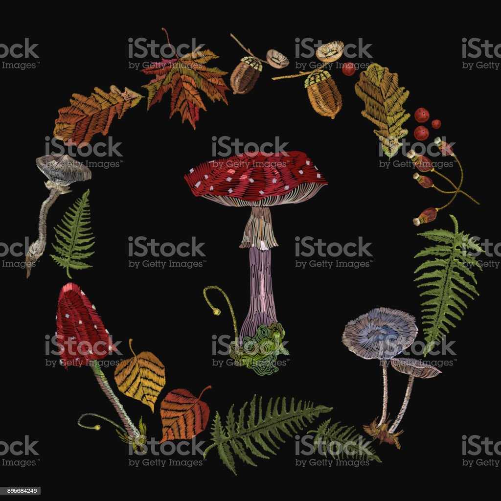 Embroidery mushrooms. Fly agarics, toadstools, forest art. Fashion nature template for clothes, textiles, t-shirt design vector art illustration
