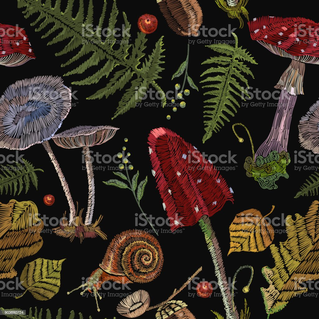 Embroidery mushrooms seamless pattern, berries, autumn leaves, seamless pattern. Fashion art nature embroidery template for clothes, textiles, t-shirt design vector art illustration