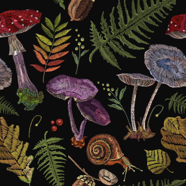 Embroidery mushrooms seamless pattern, berries, autumn leaves, seamless pattern. Nature embroidery template for clothes, textiles, t-shirt design vector art illustration