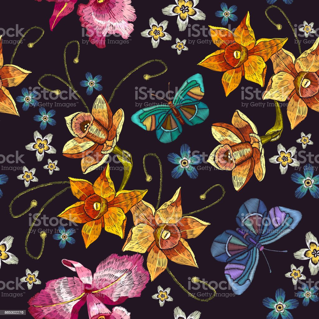 Embroidery narcissus flowers and summer butterflies seamless pattern. Classical embroidery on black background, fashionable tropical template for design of clothes, t-shirt design vector art illustration