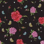 Embroidery native floral seamless pattern with roses and butterflies.