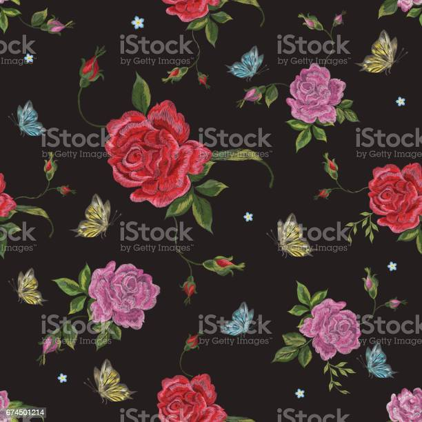 Embroidery native floral seamless pattern with roses and butterflies vector id674501214?b=1&k=6&m=674501214&s=612x612&h=zp3gvuozapj c9genufaqqgiscr0hz0p 1ifmtp9dws=