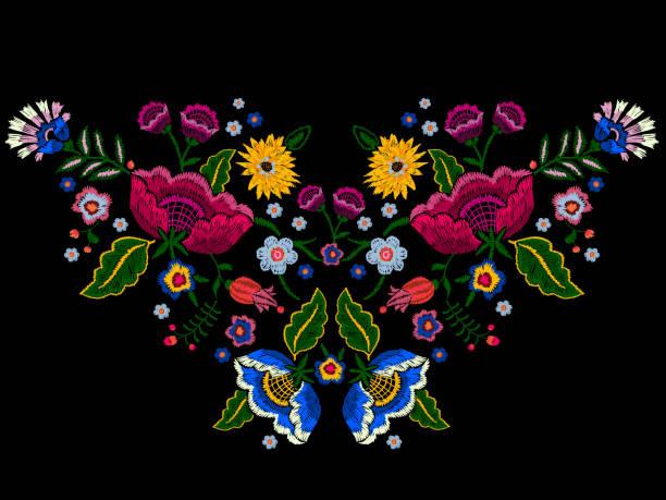 illustrazioni stock, clip art, cartoni animati e icone di tendenza di embroidery native neckline pattern with simplify flowers. - pezze di stoffa