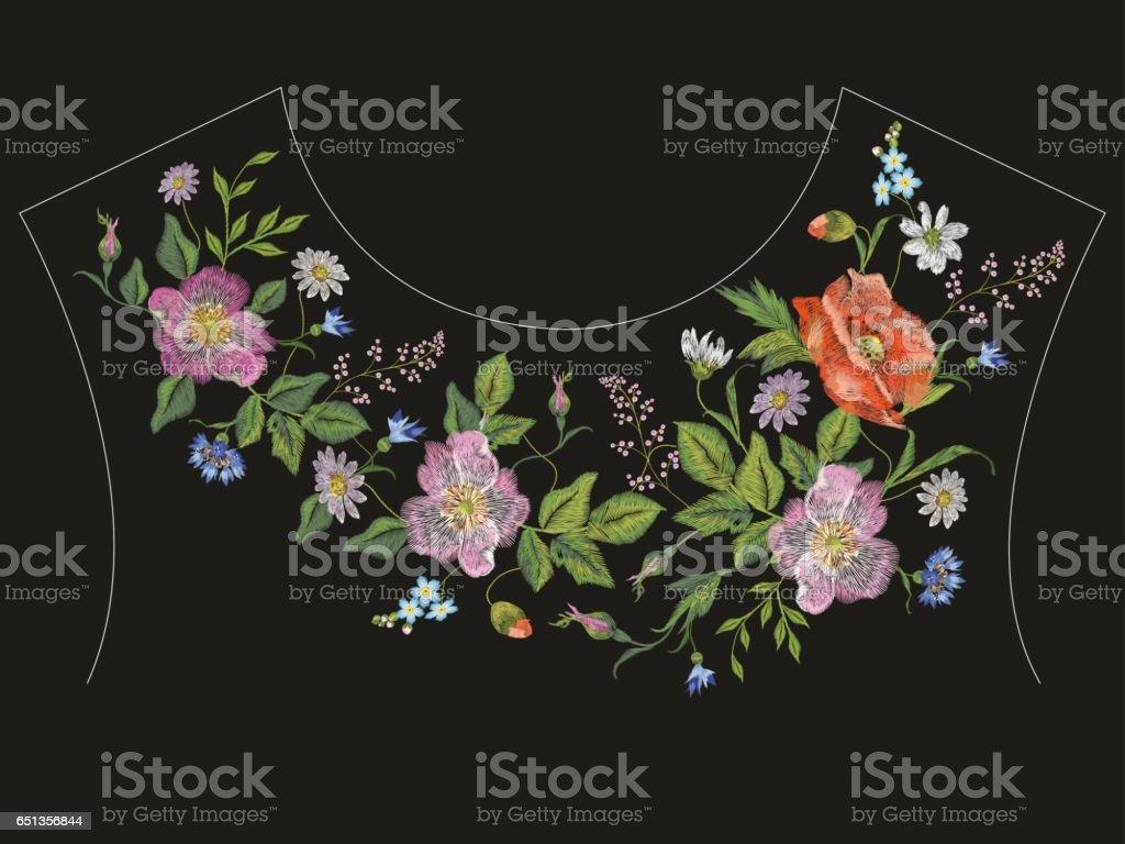 Ilustración de Cuello Bordado Línea Patrón Floral Con Rosas ...