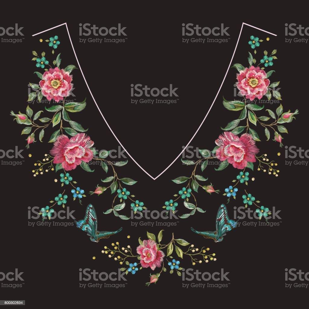 Cuello Bordado Línea Patrón Floral Con Rosas Illustracion Libre de ...