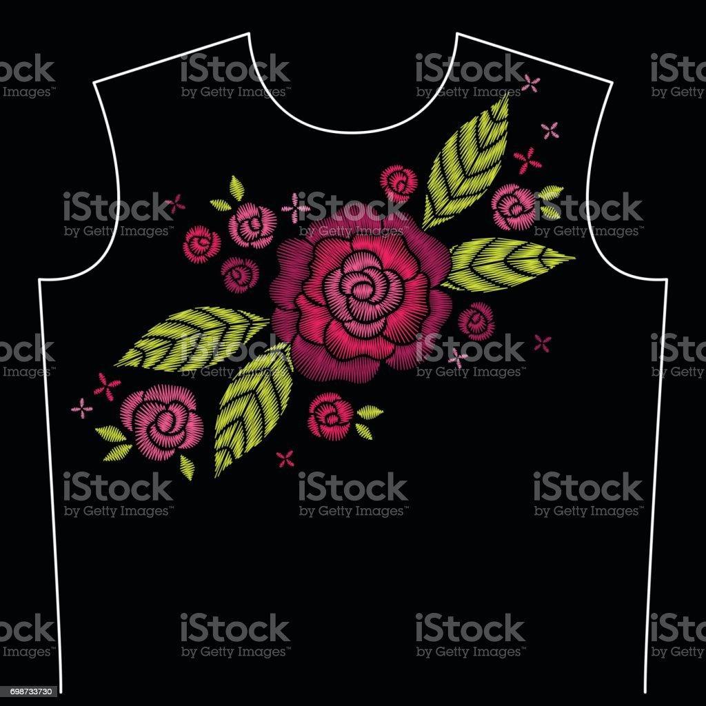 Patrón De Línea De Cuello Bordado Con Rosas Y Hojas - Arte vectorial ...