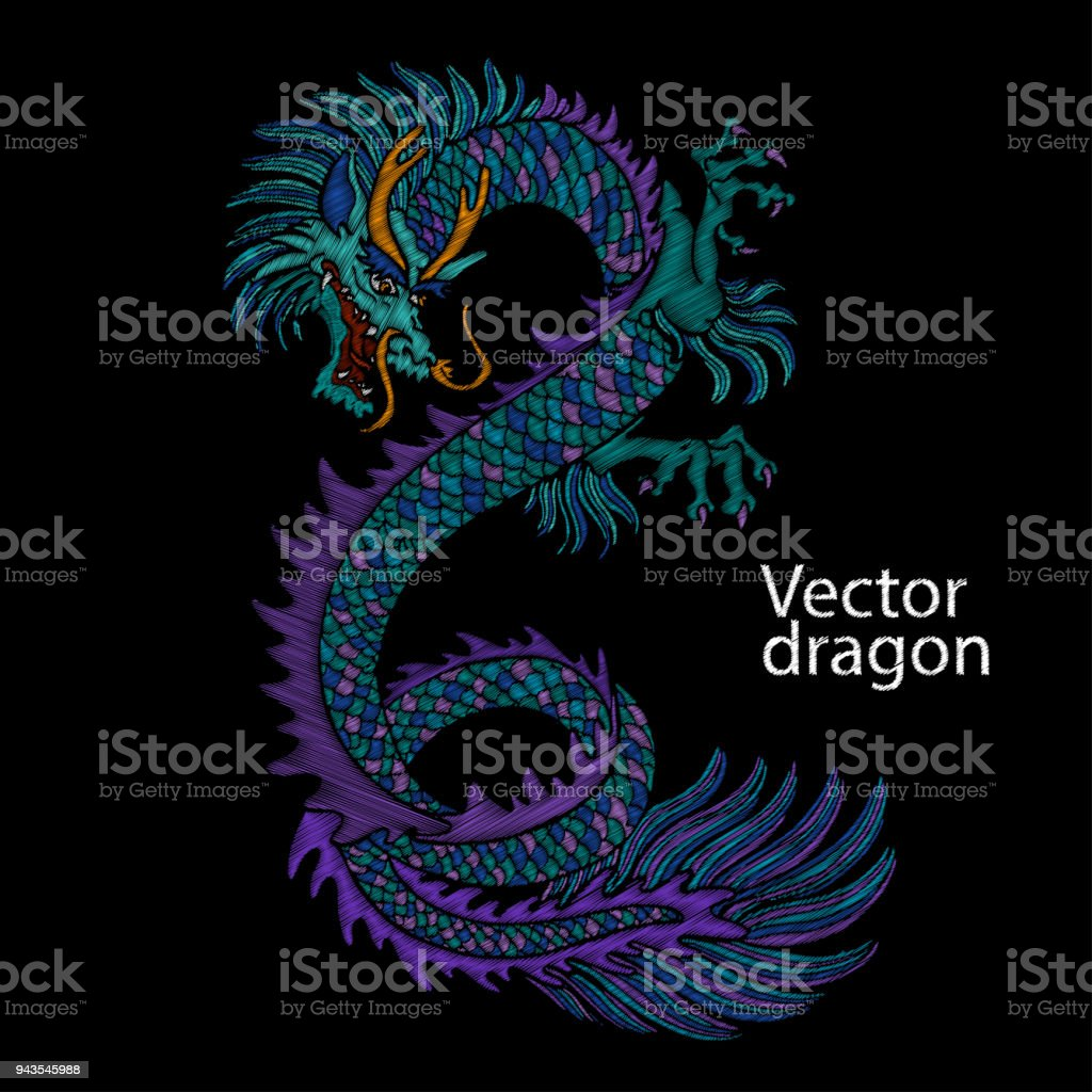 Bordado de dragón chino. Dragón azul asiático clásico bordado. Dragón japonés. Arte de vector con dragones para diseños de camisetas. Ropa, plantilla de diseño textil, dibujo de tatuaje - ilustración de arte vectorial