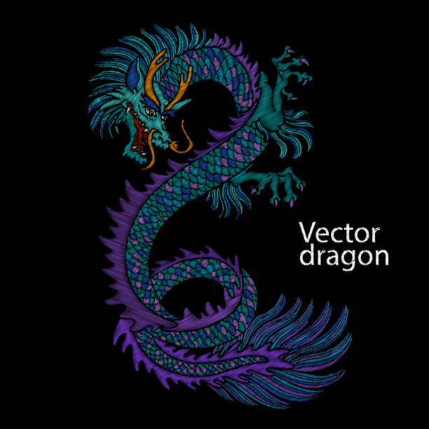 Embroidery of Chinese dragon. Classical embroidery asian blue dragon. Japanese dragon. Vector art with dragons for t-shirt designs. Clothes, textile design template, tattoo sketch Embroidery of Chinese dragon. Classical embroidery asian blue dragon. Art of dragons for t-shirt design. Clothes, textile design template. dragons tattoos stock illustrations