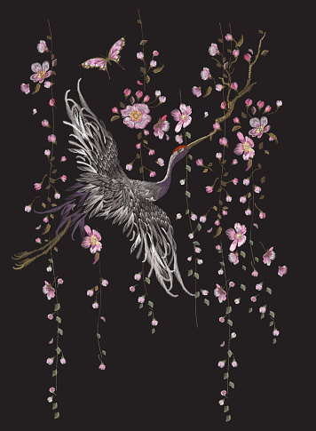 Embroidery oriental floral pattern with crane.