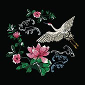 Embroidery oriental folk pattern with crane and lotus flowers.