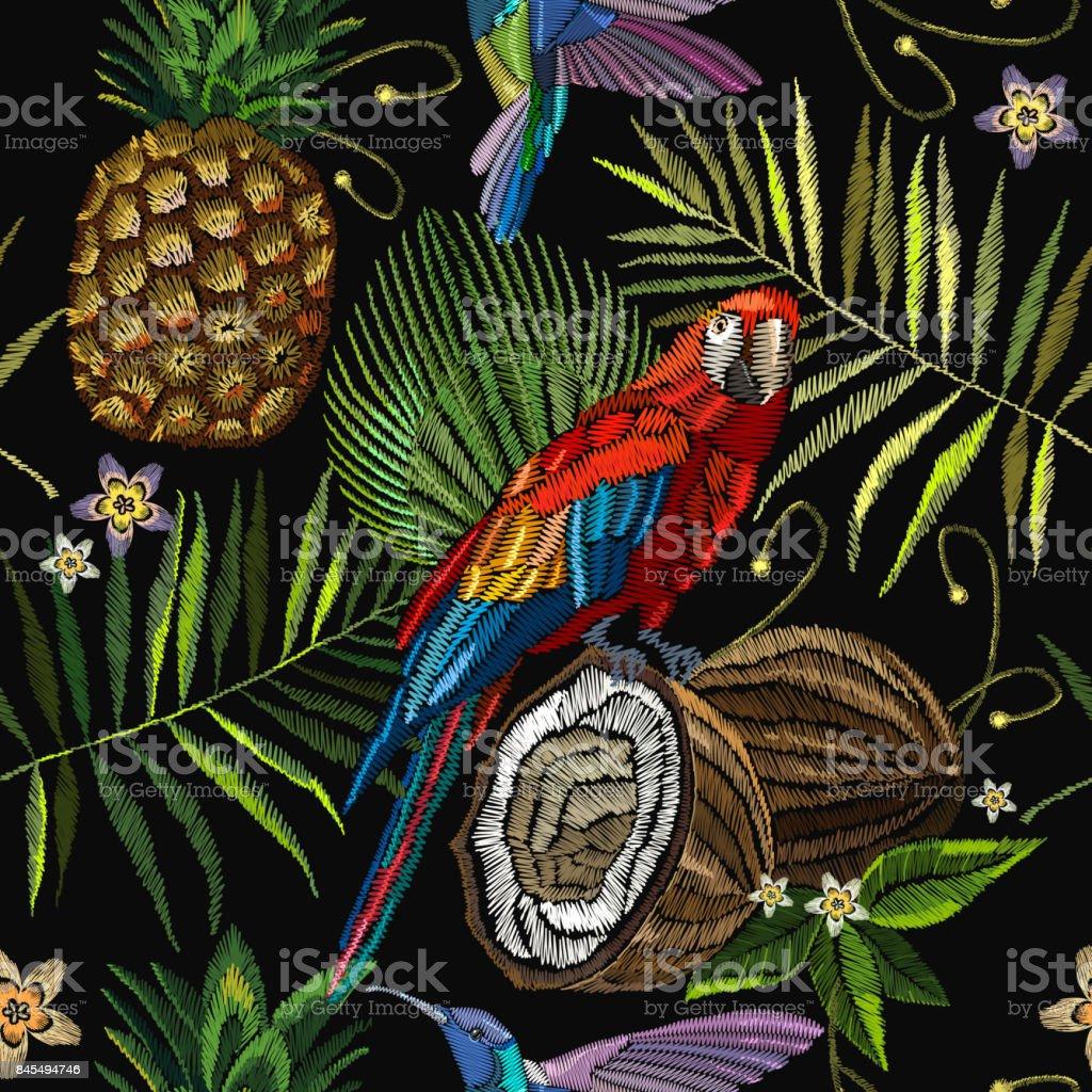 Ilustración de Loro De Bordado Colibrí Pájaro Hojas De árbol De ...