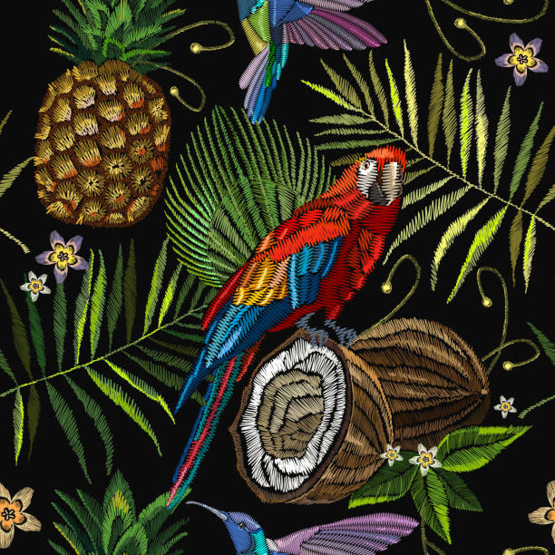 Embroidery parrot, humming bird, palm tree leaves, pineapple, coconut tropical seamless pattern. Fashionable embroidery tropical summer background. Template for design of clothes vector art illustration