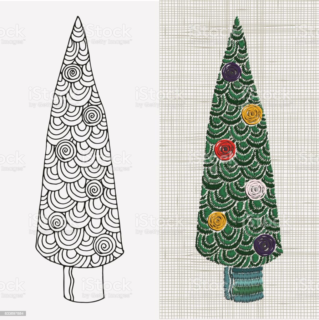 Embroidery pattern christmas tree vector embroidery home decor embroidery pattern christmas tree vector embroidery home decor linen cloth texture colorful bankloansurffo Choice Image
