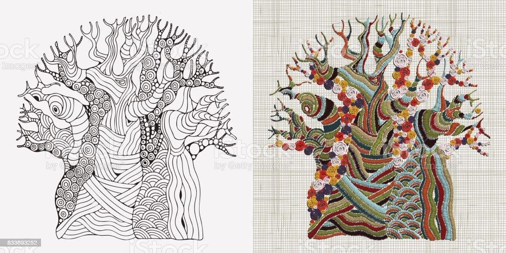 Ilustración de Patrón De Bordado La Mano Cosió árbol Baobab Bordado ...