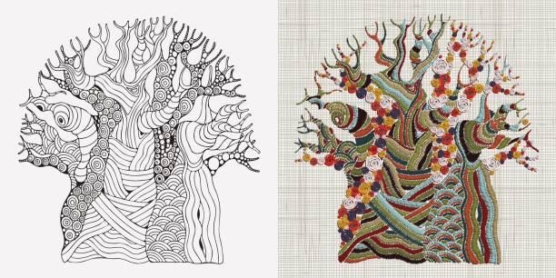 Patrón de bordado. La mano cosió árbol Baobab bordado. Árbol africano. Decoración casera de pared étnica arte del bordado. Textura de paño de lino. Vector. - ilustración de arte vectorial