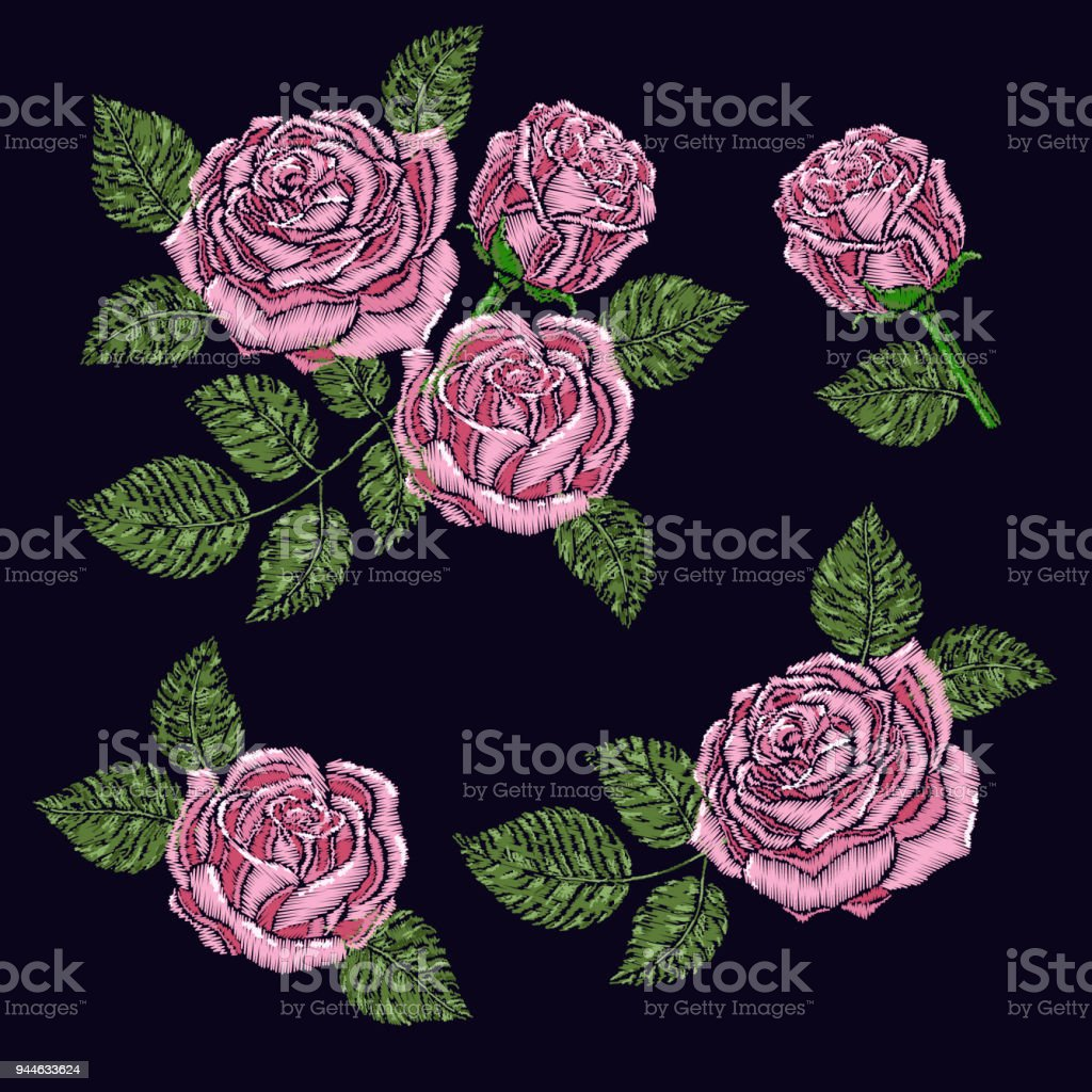 Embroidery pattern texture wallpaper background with pink beautiful embroidery pattern texture wallpaper background with pink beautiful roses vector floral ornament on izmirmasajfo