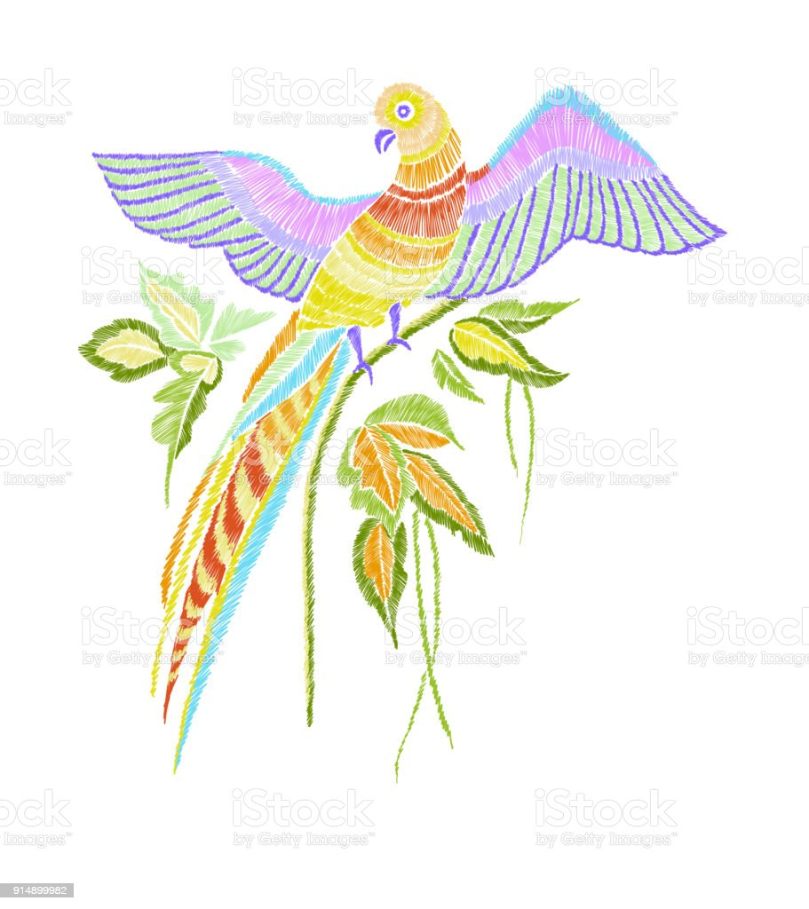 Embroidery Pattern With Parrot And Tropical Leaves Vector ...